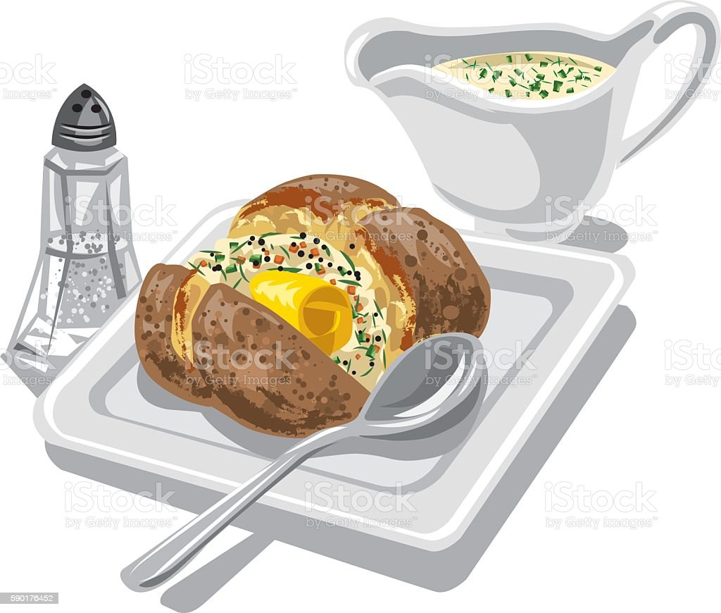 baked potato with sauce vector art illustration