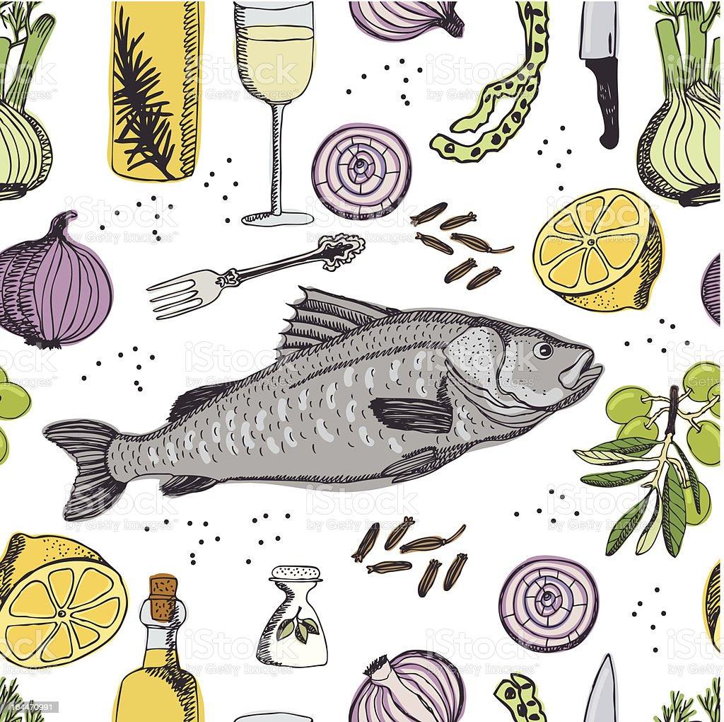 Baked Sea Bass pattern vector art illustration