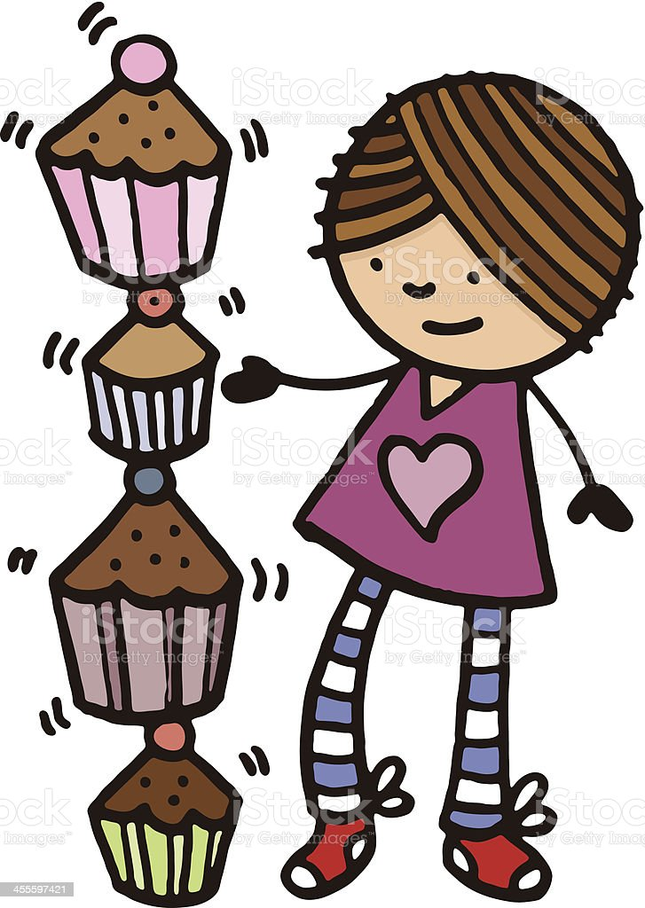 Baker girl with cupcakes vector art illustration