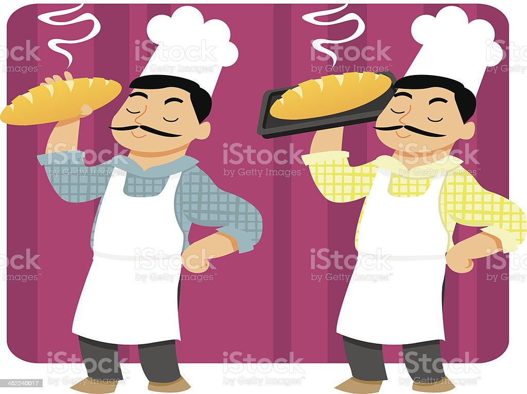 Baker Holding freshly baked Bread royalty-free stock vector art