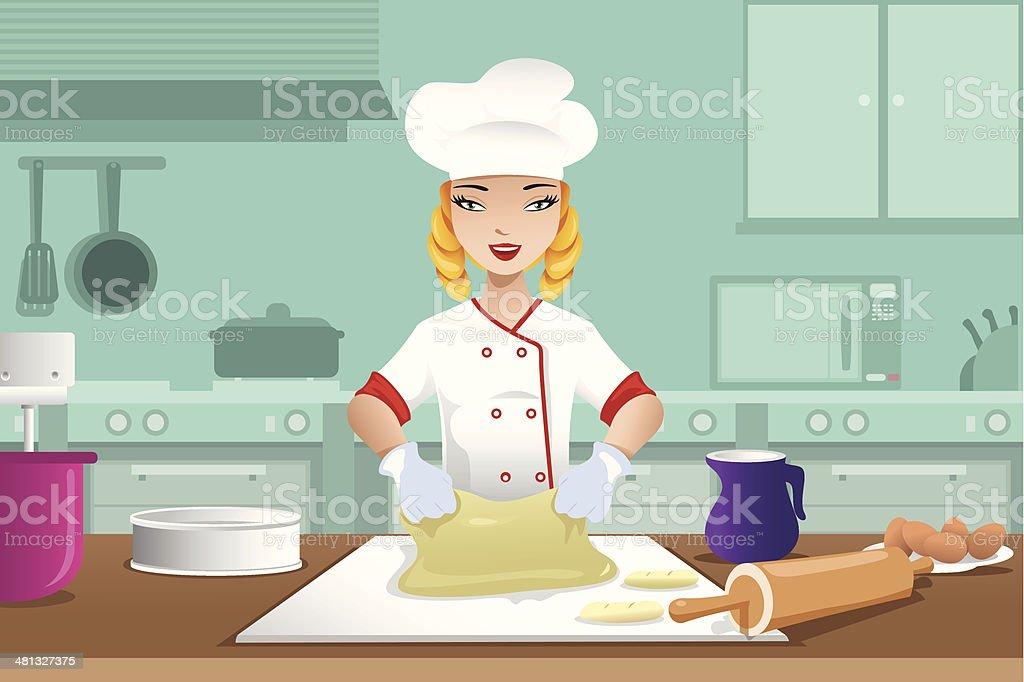 Baker making dough vector art illustration