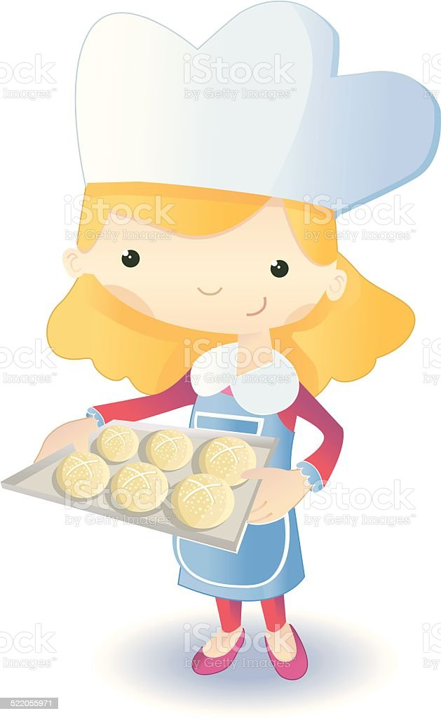 baker (with buns) vector art illustration