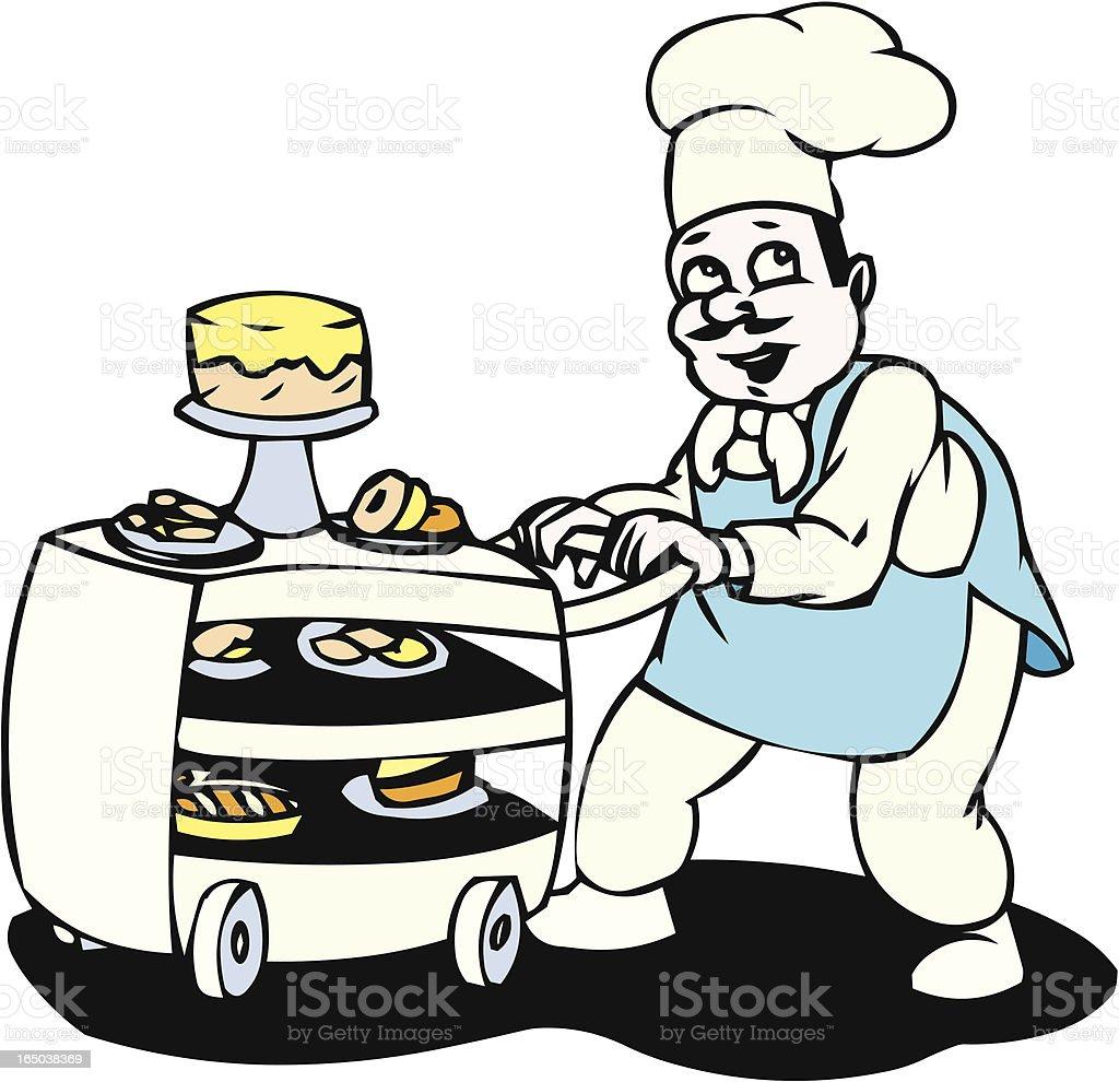 Baker with desserts vector art illustration