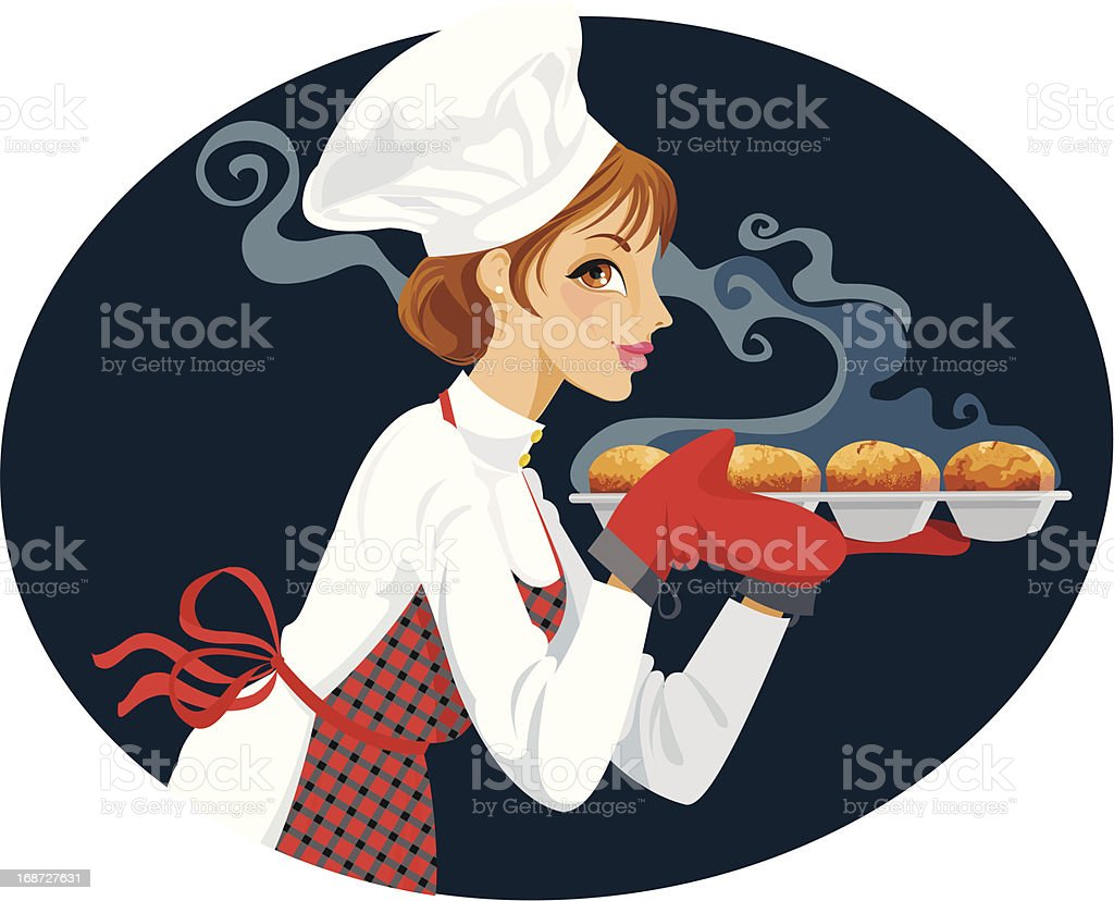 Baker with Fresh Cupcakes vector art illustration