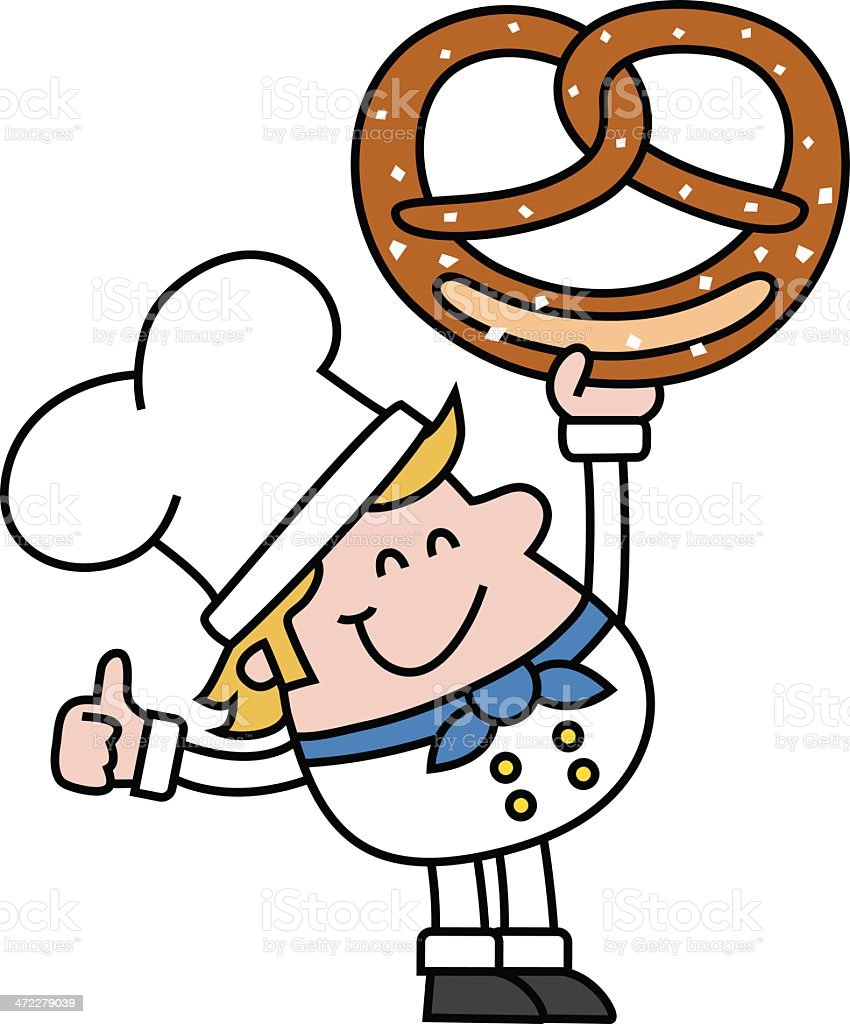 baker with pretzel vector art illustration