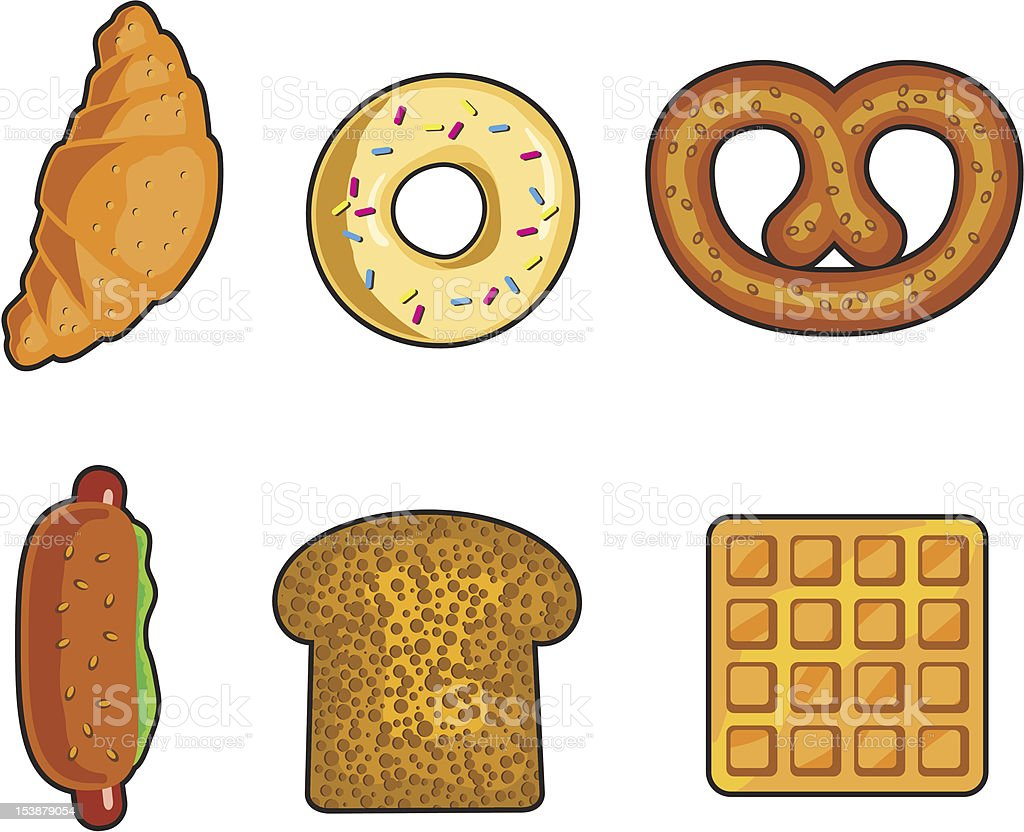 Bakery 6 pieces collection royalty-free stock vector art
