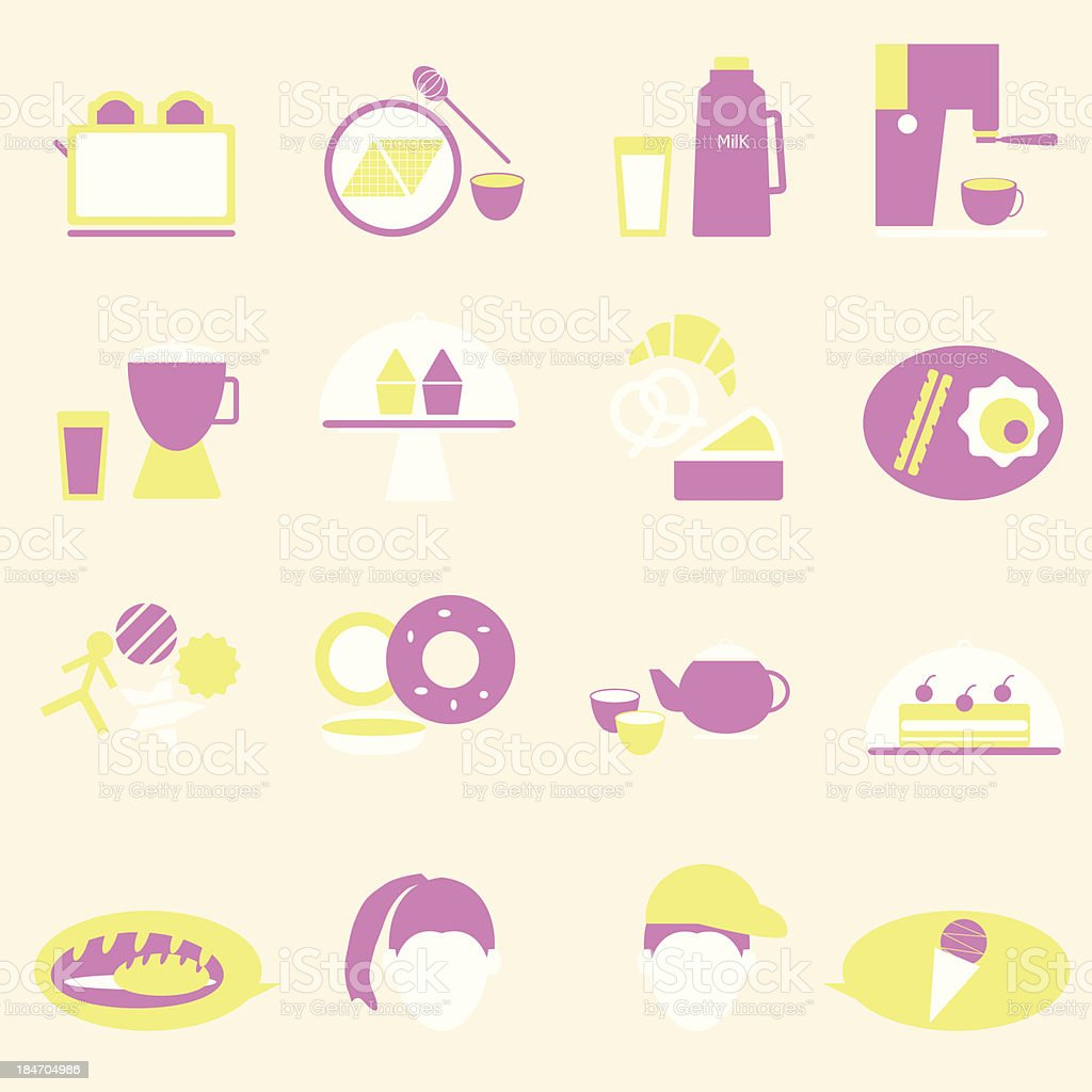 Bakery and drinks color icons royalty-free stock vector art