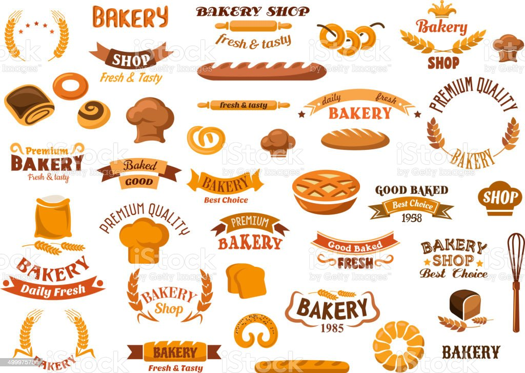 Bakery and pastry isolated design elements vector art illustration