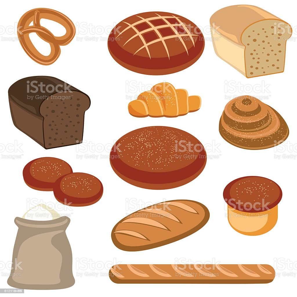 Bakery and pastry products vector art illustration