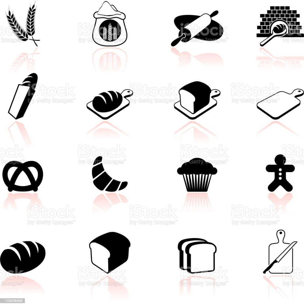 bakery black and white icon set vector art illustration
