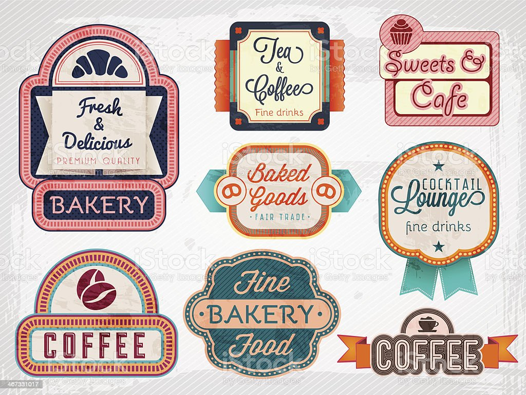 bakery, cafe badges royalty-free stock vector art