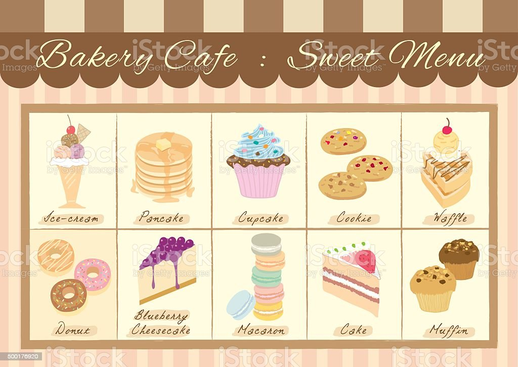 bakery cafe sweet menu vector art illustration