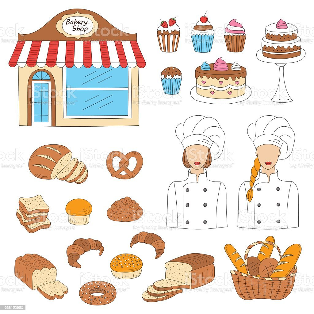 Bakery collection, hand drawn doodle style vector illustration vector art illustration