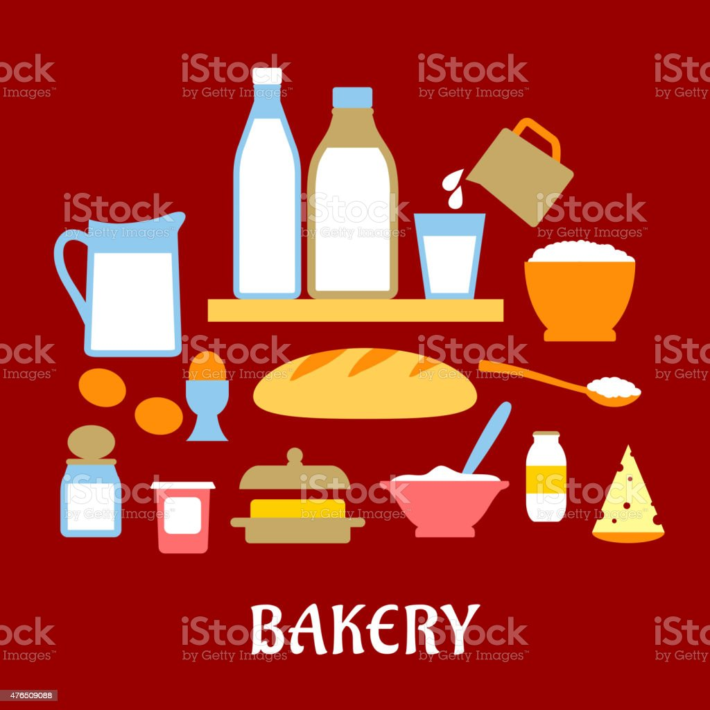 Bakery concept with dough ingredients vector art illustration