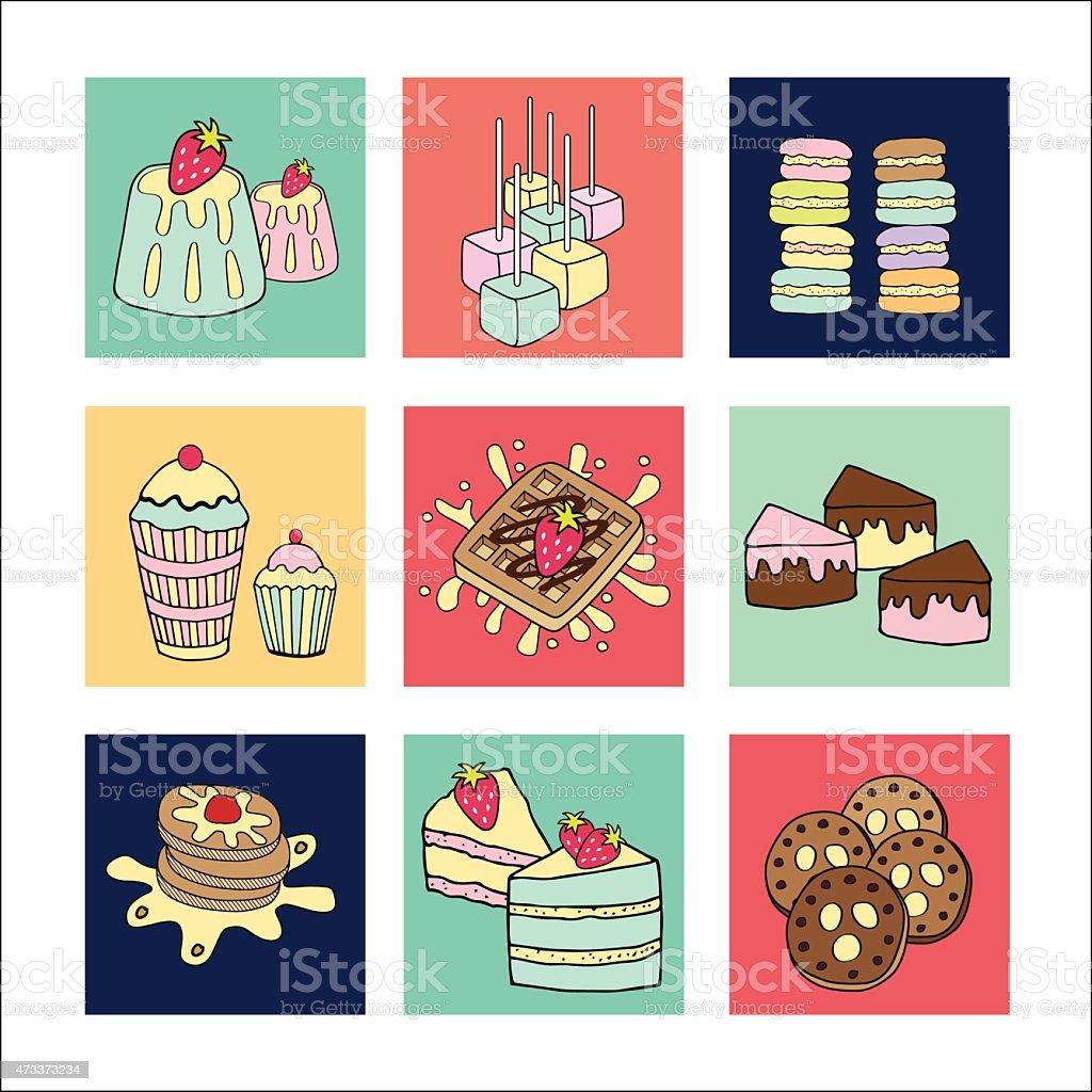 Bakery doodle menu icons square vector art illustration