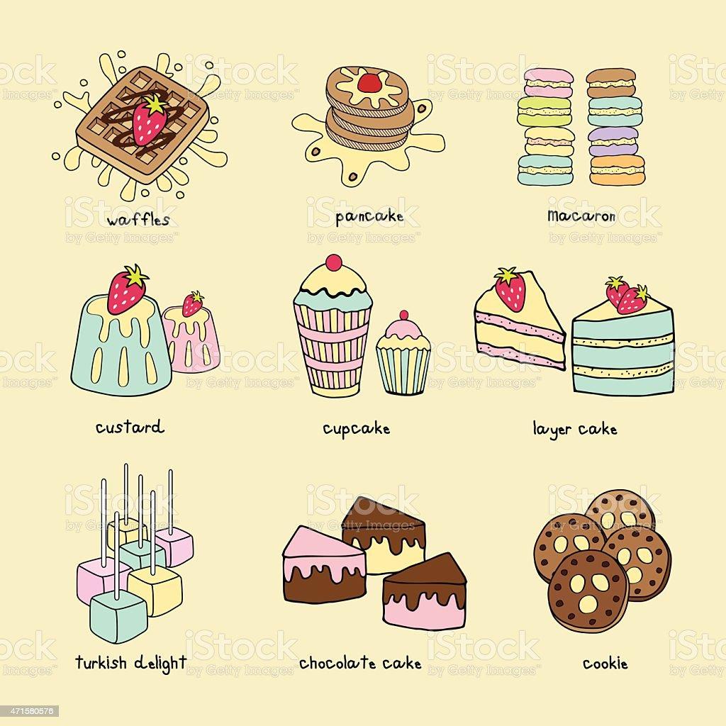 Bakery doodle pastel color scheme vector art illustration