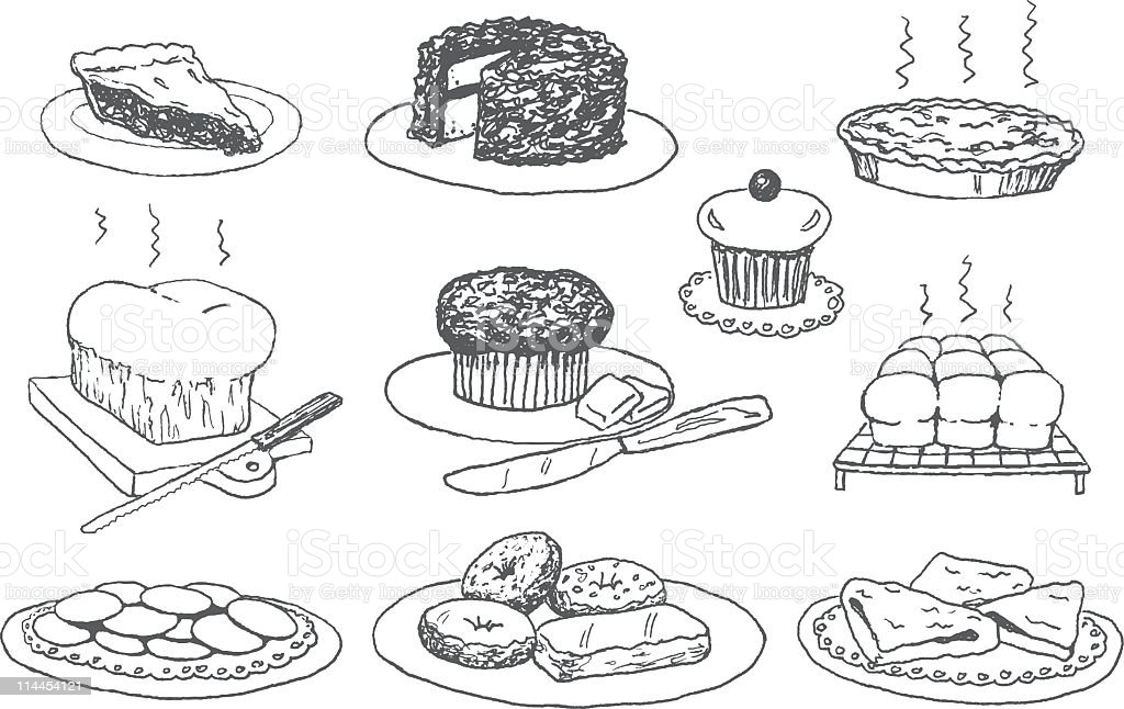 Bakery Doodles royalty-free stock vector art
