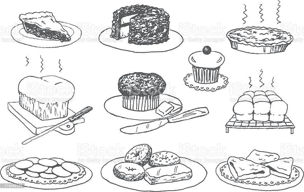 Bakery Doodles vector art illustration