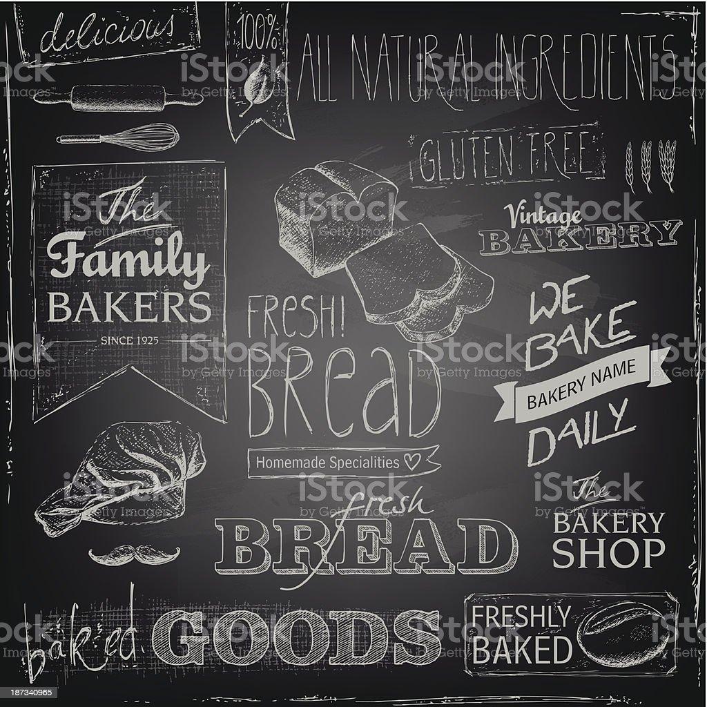 Bakery elements on a blackboard vector art illustration