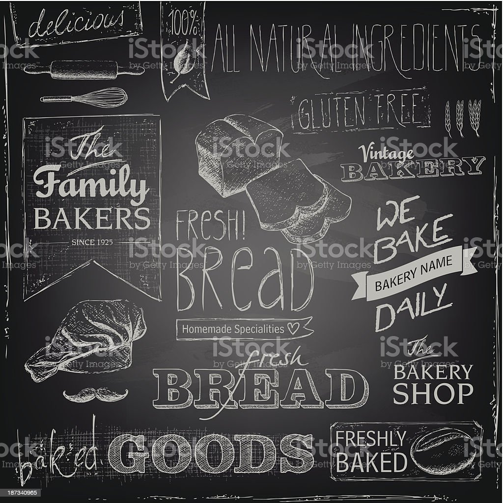 Bakery elements on a blackboard vector art illustration