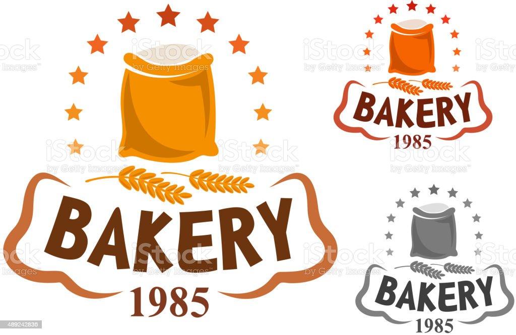 Bakery emblem with flour and wheat ears vector art illustration