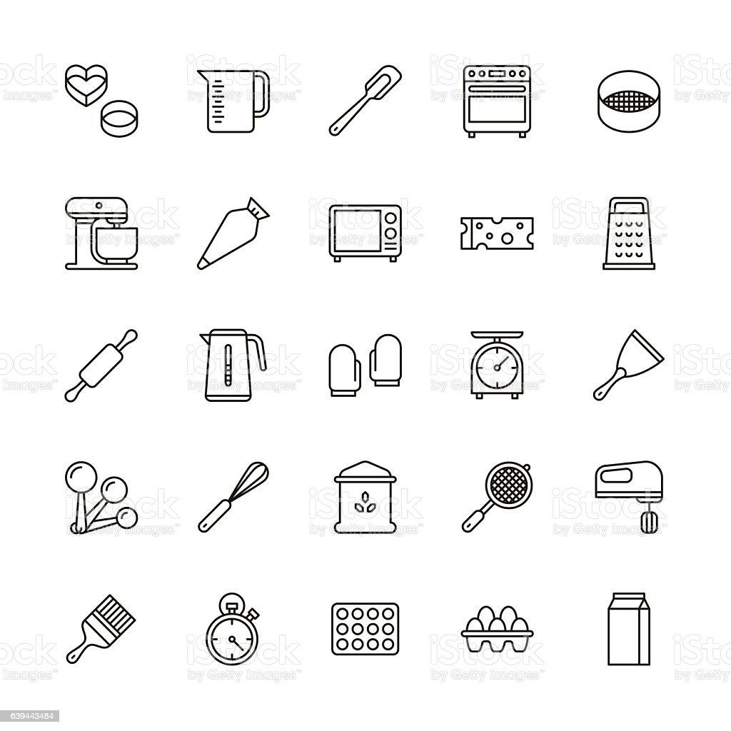 Bakery equipment icons - line vector art illustration