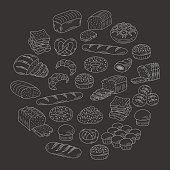 Bakery fresh bread collection doodle style vector illustration.