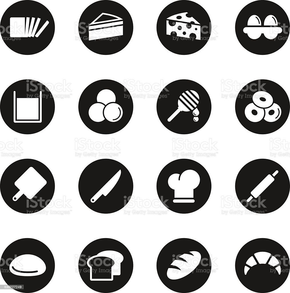 Bakery Icons - Black Circle Series vector art illustration