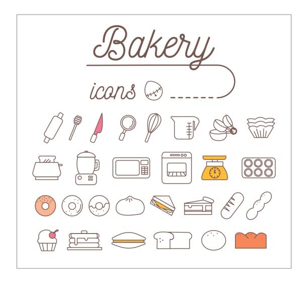 Thin Linear Symbols For Fast Food Or Bakery Design Clip Art Vector