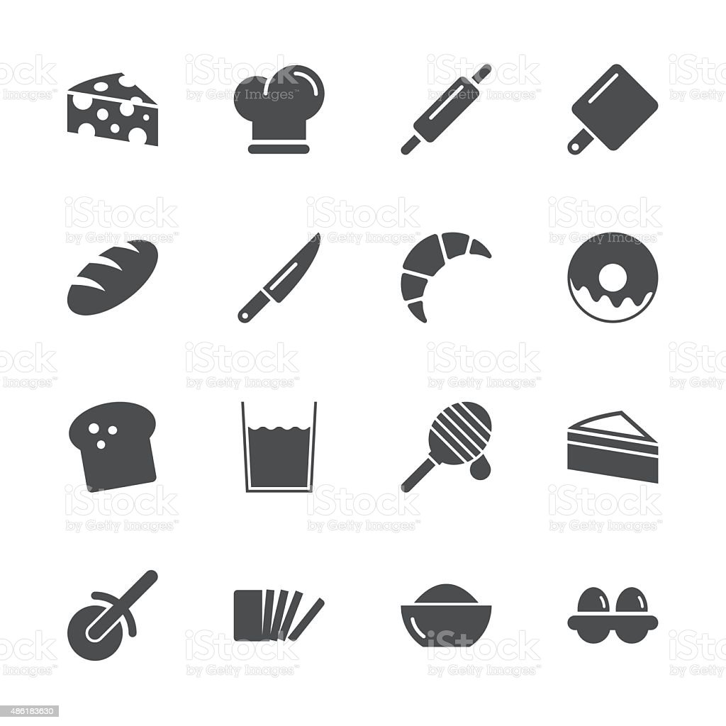 Bakery Icons - Gray Series vector art illustration