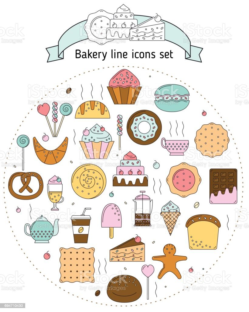 Bakery icons in line art style for websites and mobile vector art illustration