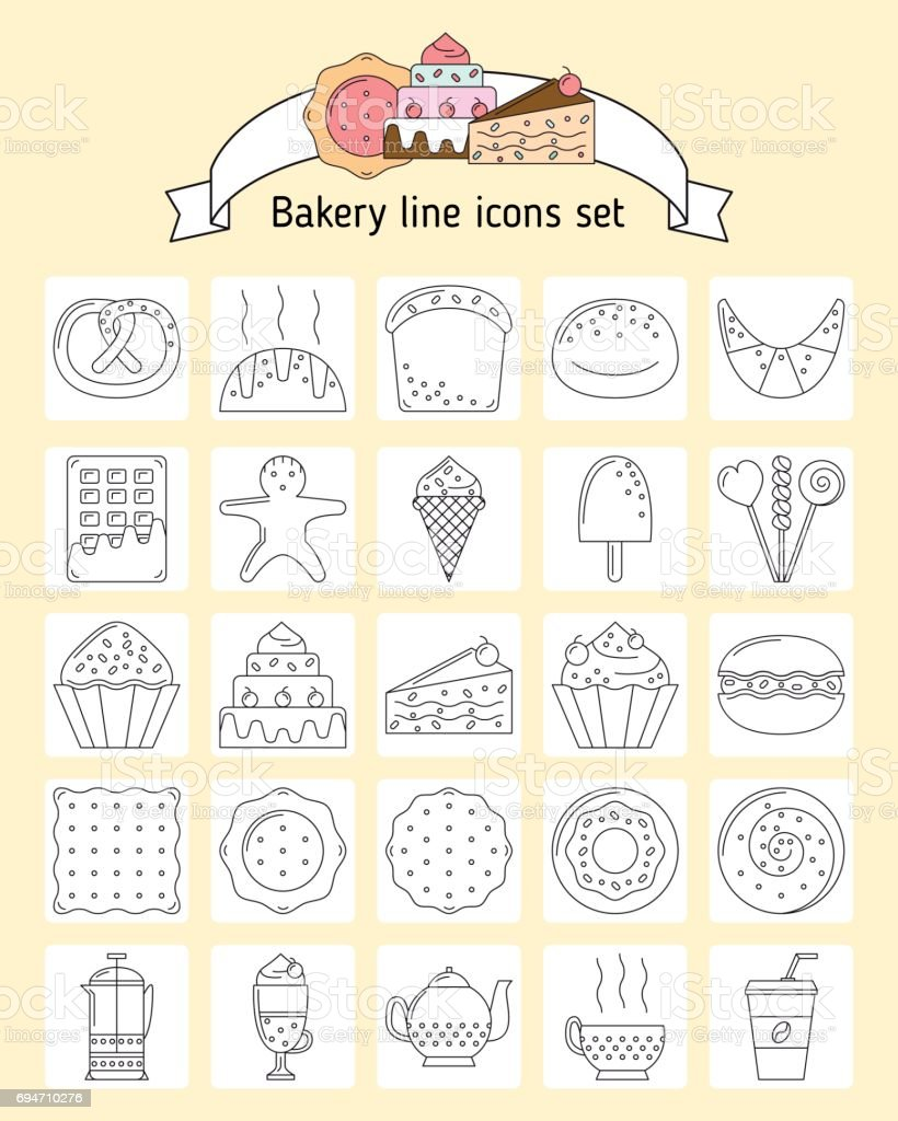 Bakery icons in line art style. Icons with bread, biscuits, swee vector art illustration