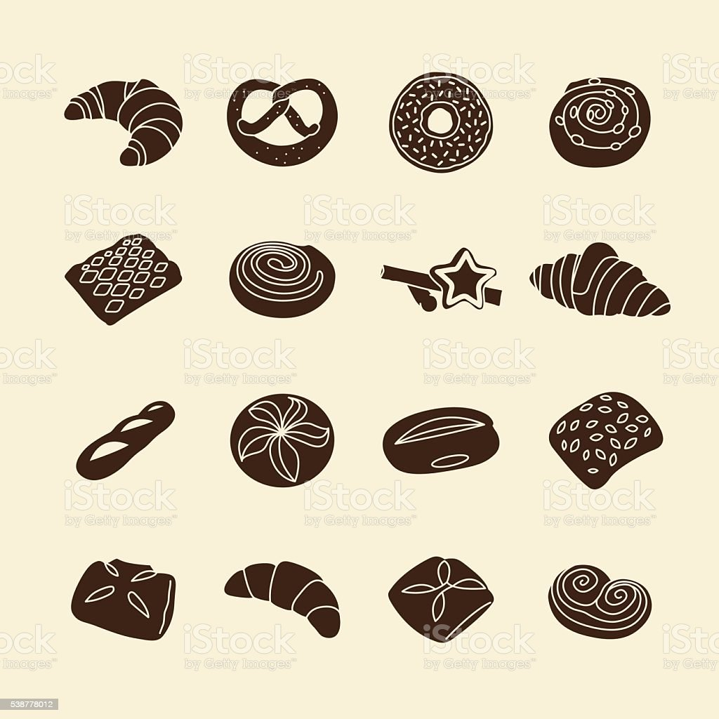 Bakery icons vector art illustration