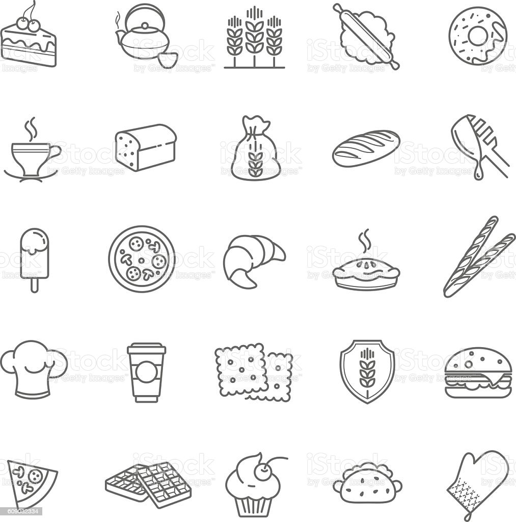 bakery icons, vector stock vector art illustration