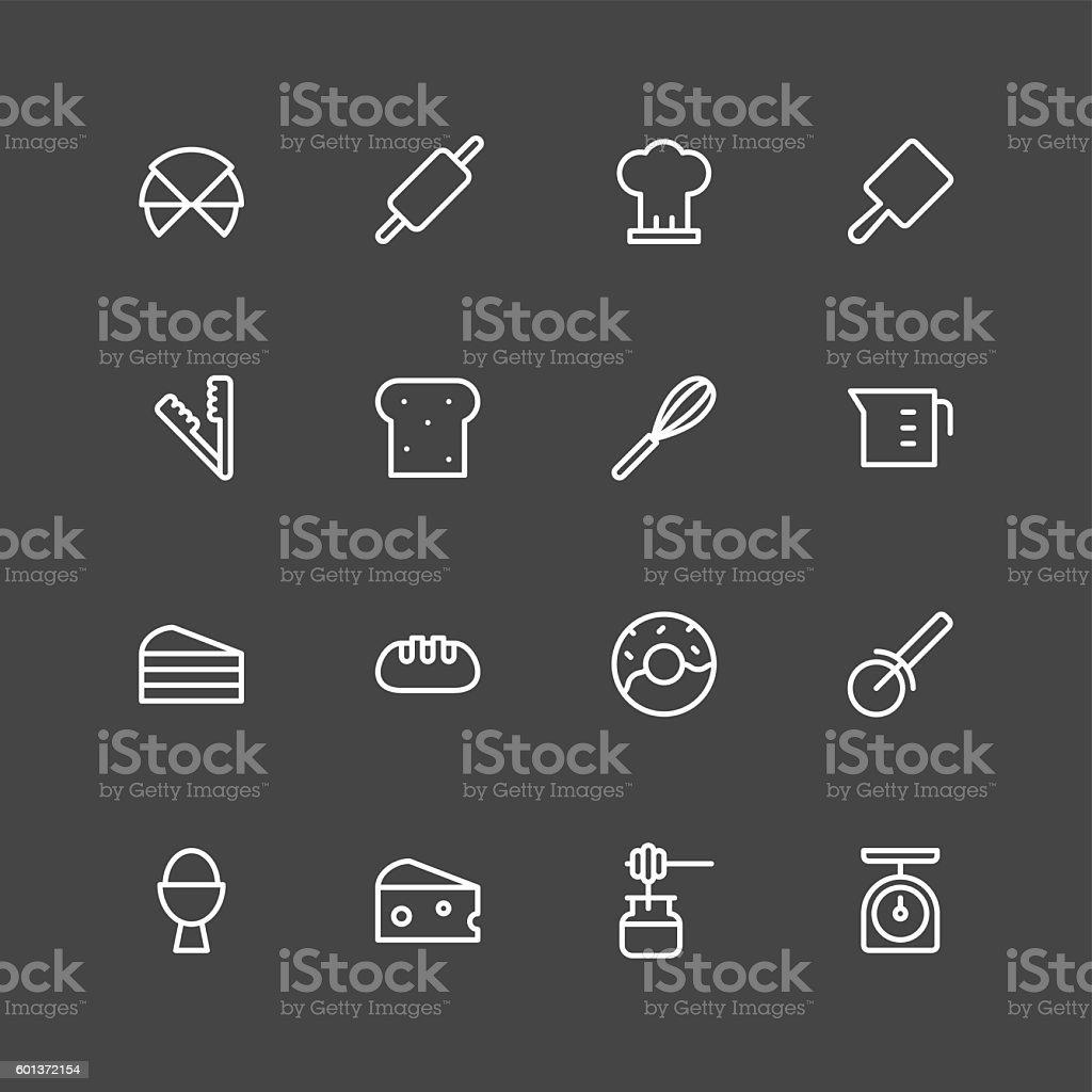 Bakery icons - White Series vector art illustration