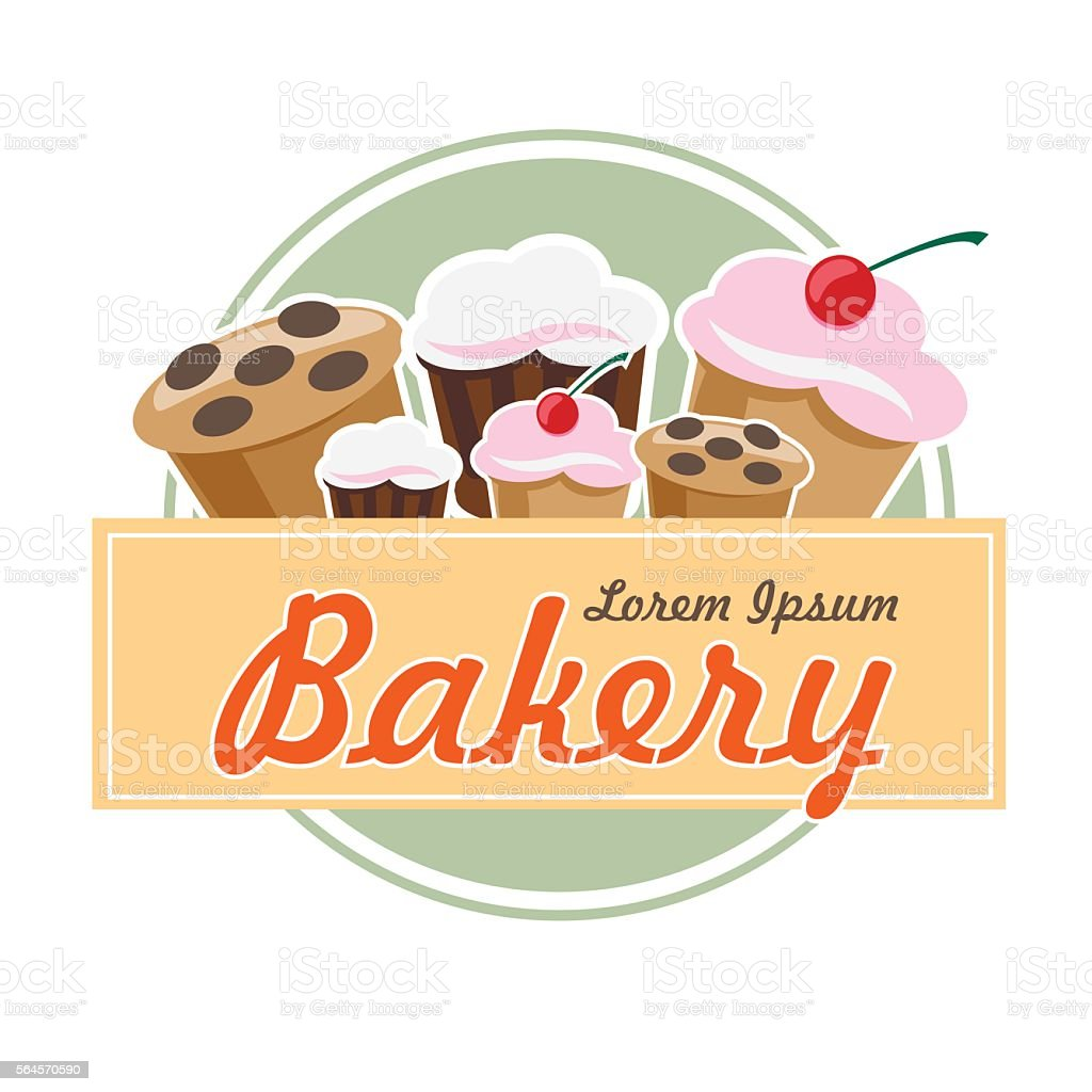 bakery logo in flat vintage design cakes and muffins stock 1 credit