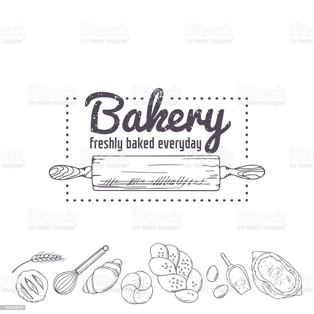 Bakery logo template. Hand drawn rolling pin and baking for vector art illustration