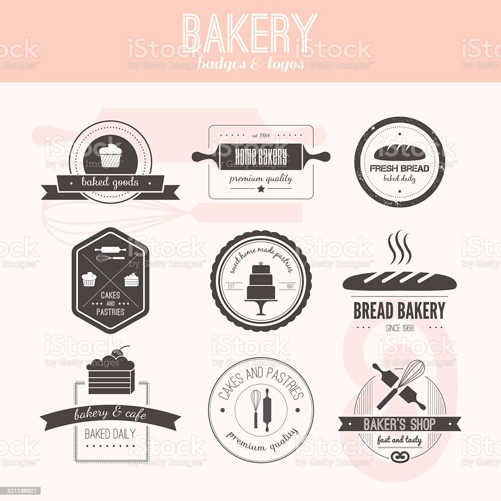 Bakery Logos vector art illustration