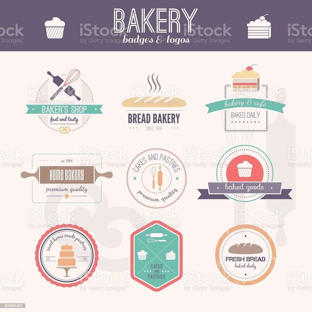 Bakery Logos vector art illustration