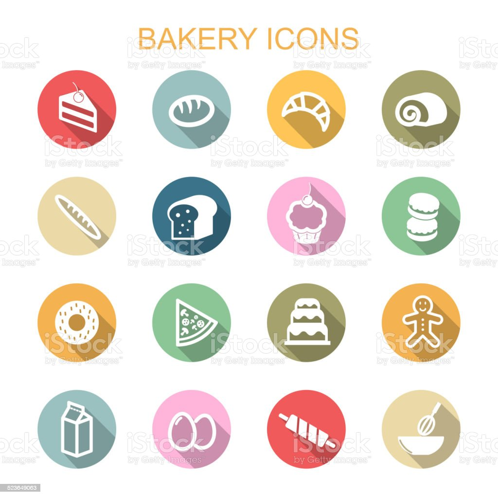 bakery long shadow icons vector art illustration