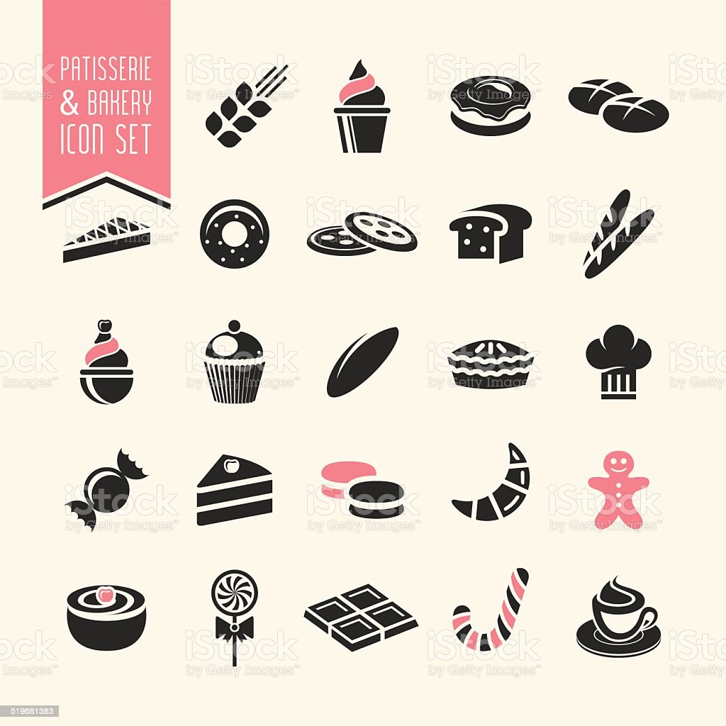 Bakery, pastry icon set vector art illustration