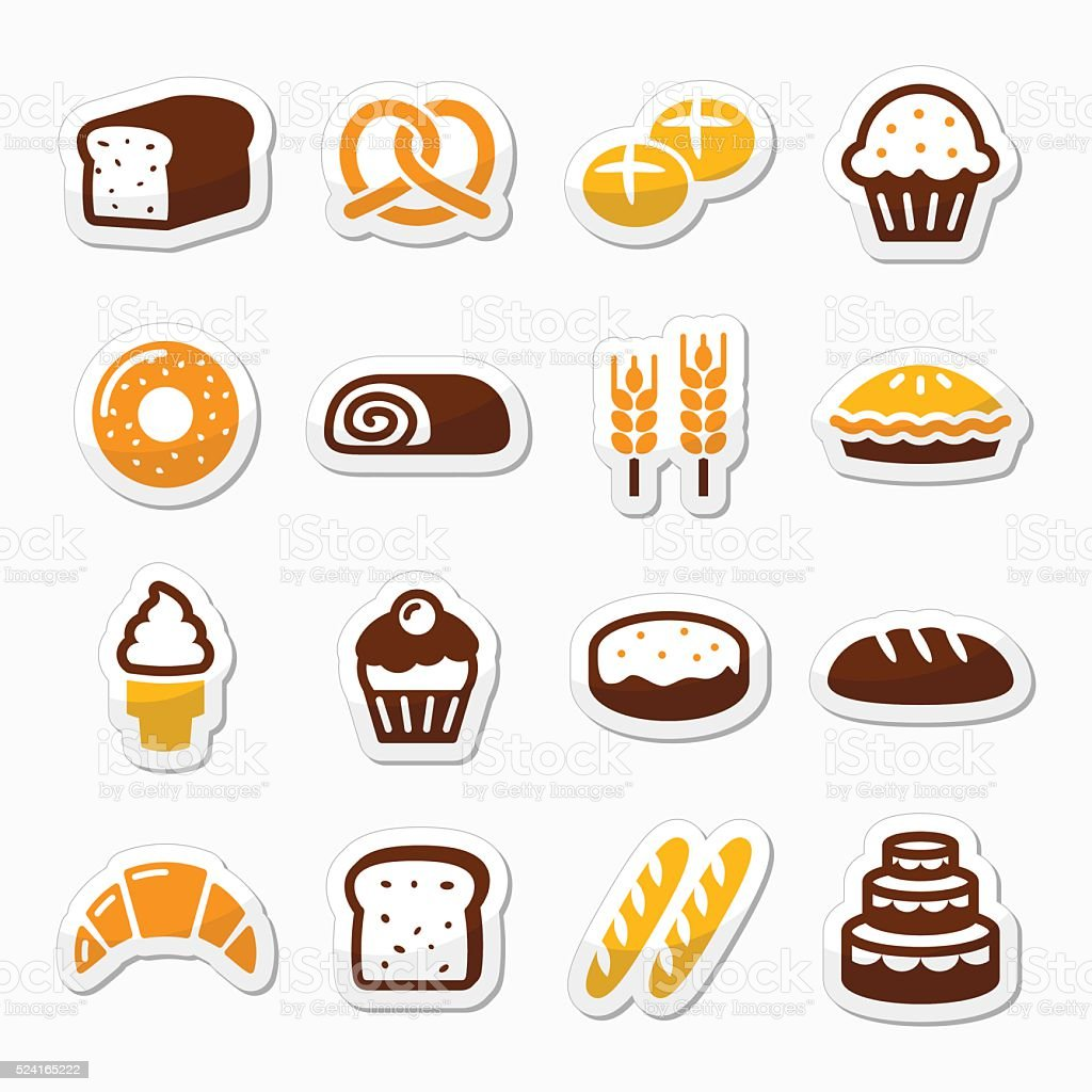 Bakery, pastry icons set - bread, donut, cake, cupcake vector art illustration