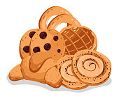 Bakery pastry isolated cartoon illustration set