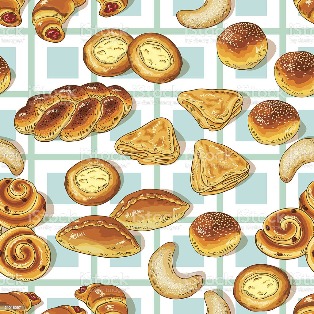Bakery pattern vector art illustration