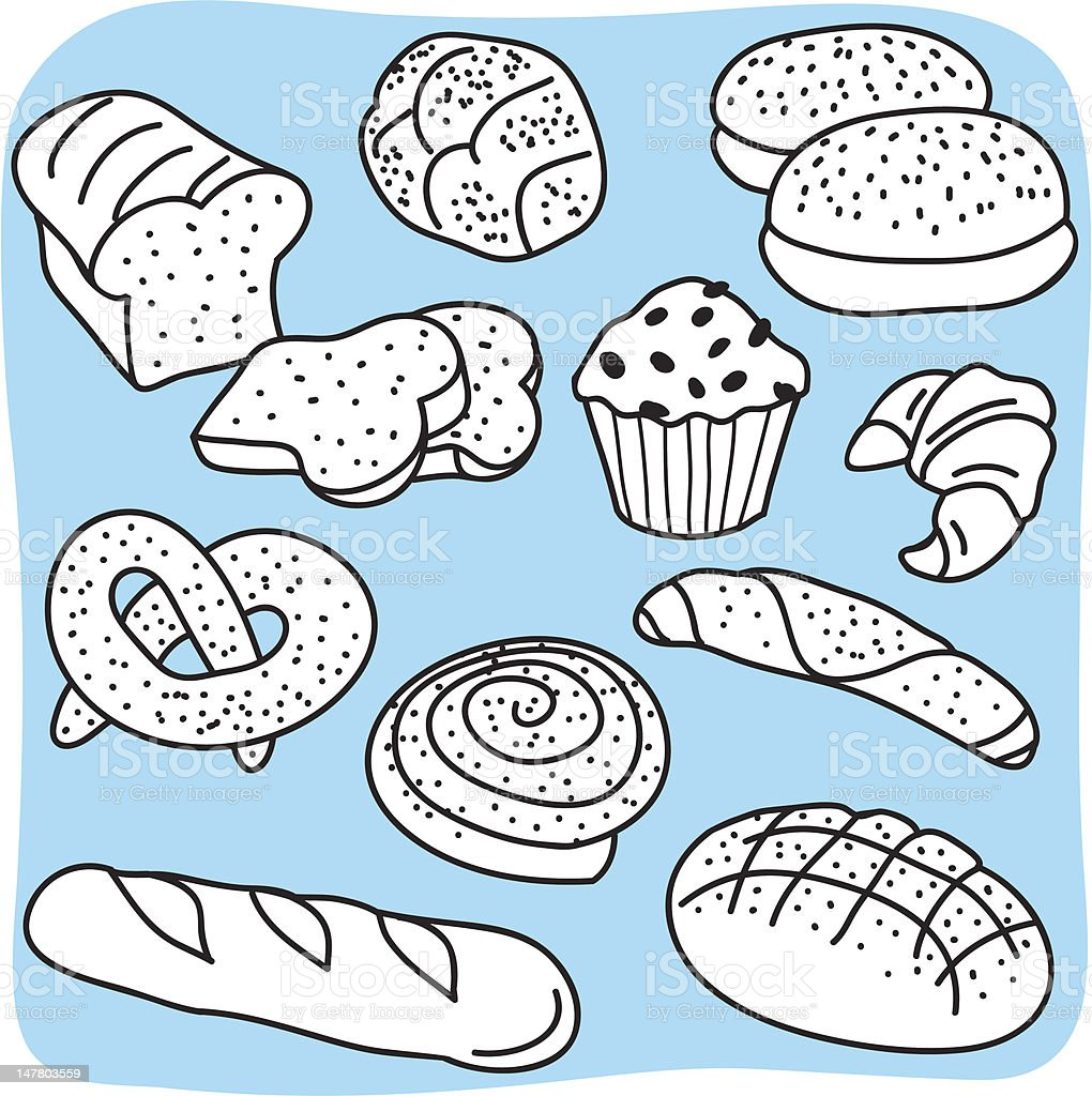 Bakery products, bread and cereal goods royalty-free stock vector art