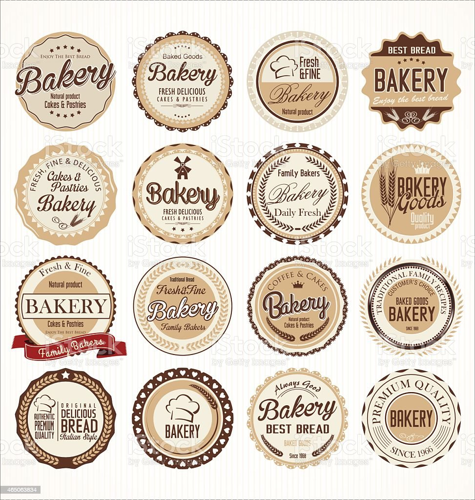 bakery retro badges collection vector art illustration