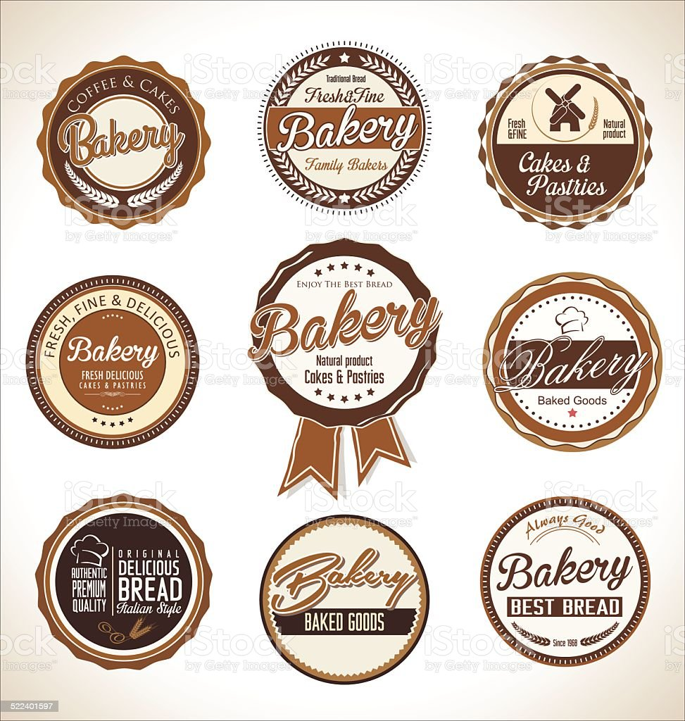Bakery retro labels collection vector art illustration