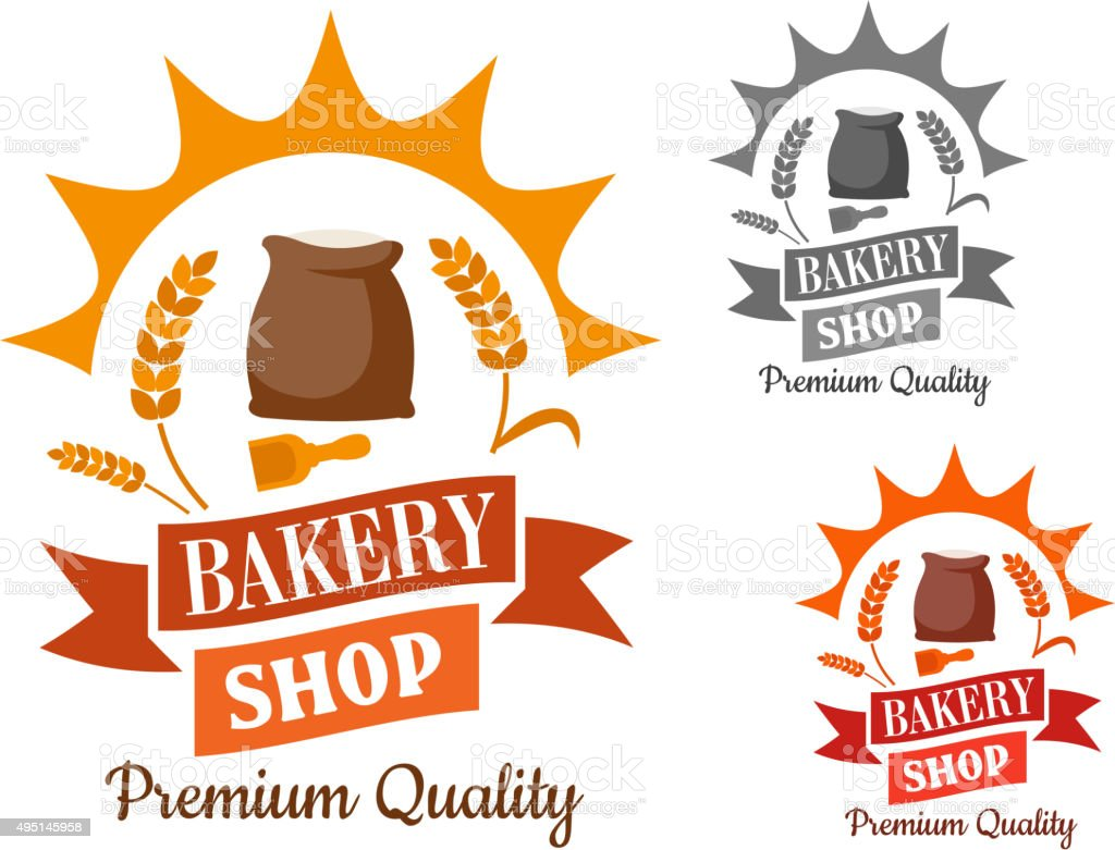 Bakery retro sign with flour and wheat vector art illustration