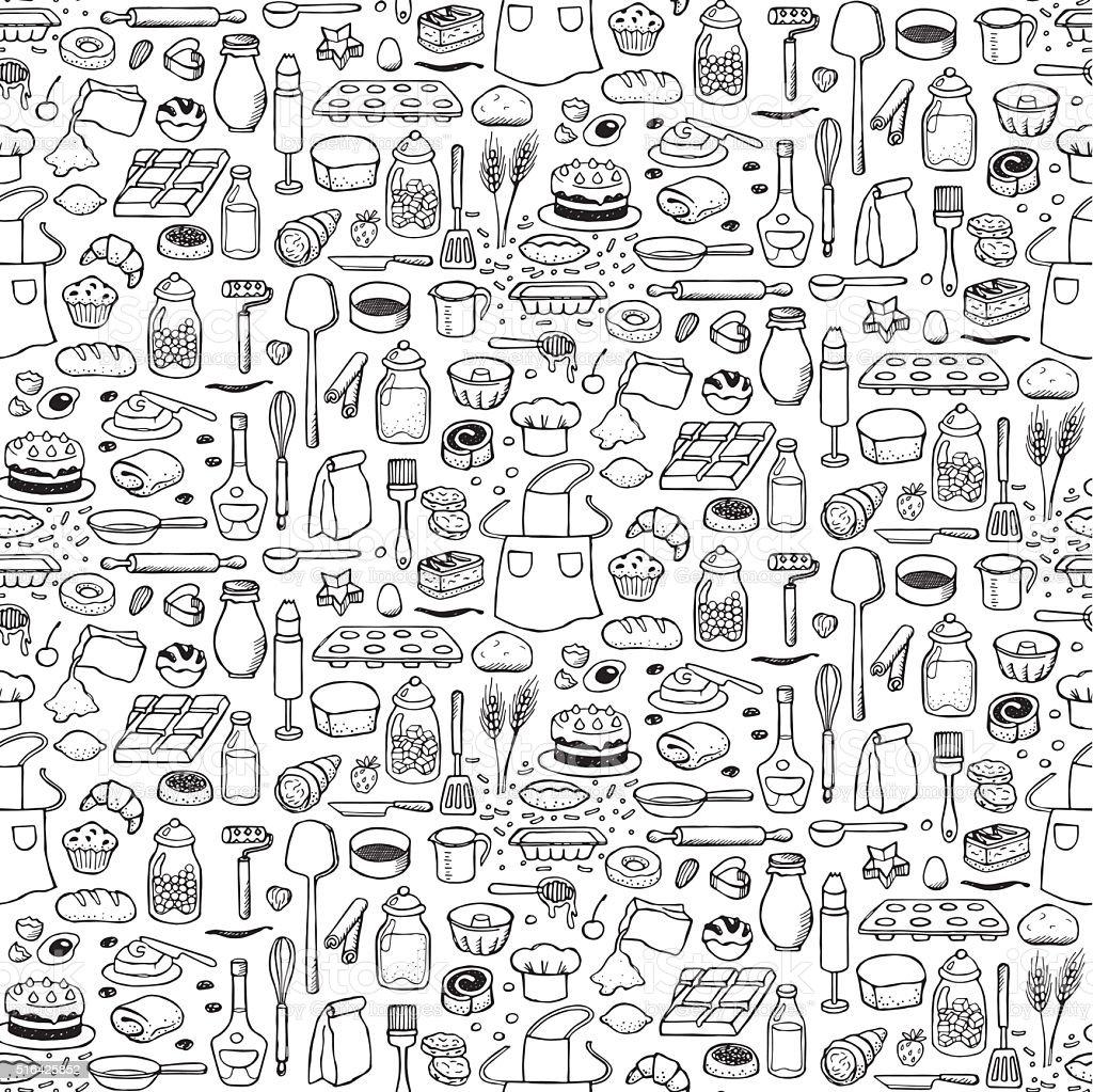 Bakery Seamless Pattern vector art illustration