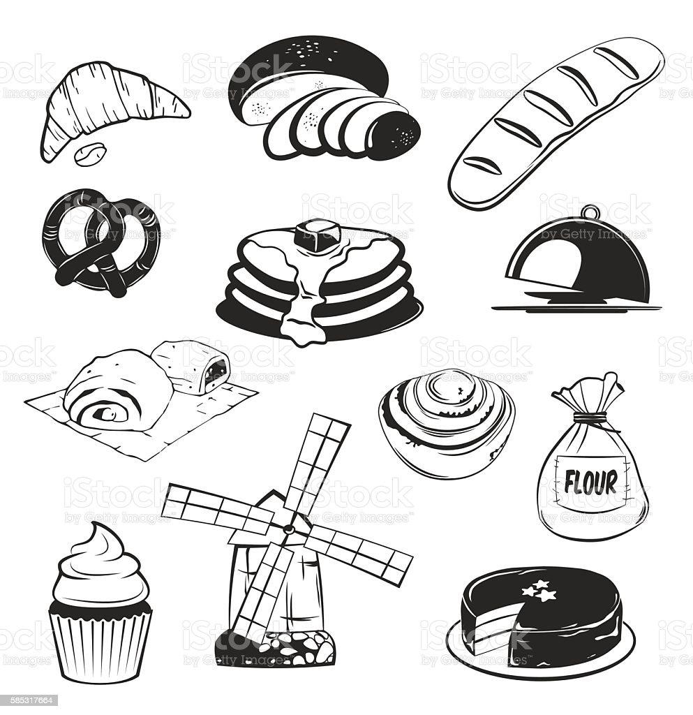 Bakery set. Gesign Elements. Vector Illustration vector art illustration